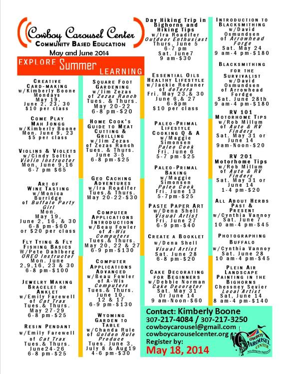 CCC Summer Classes Announced this week for the Cowboy Carousel Center - Click on the image to enlarge.
